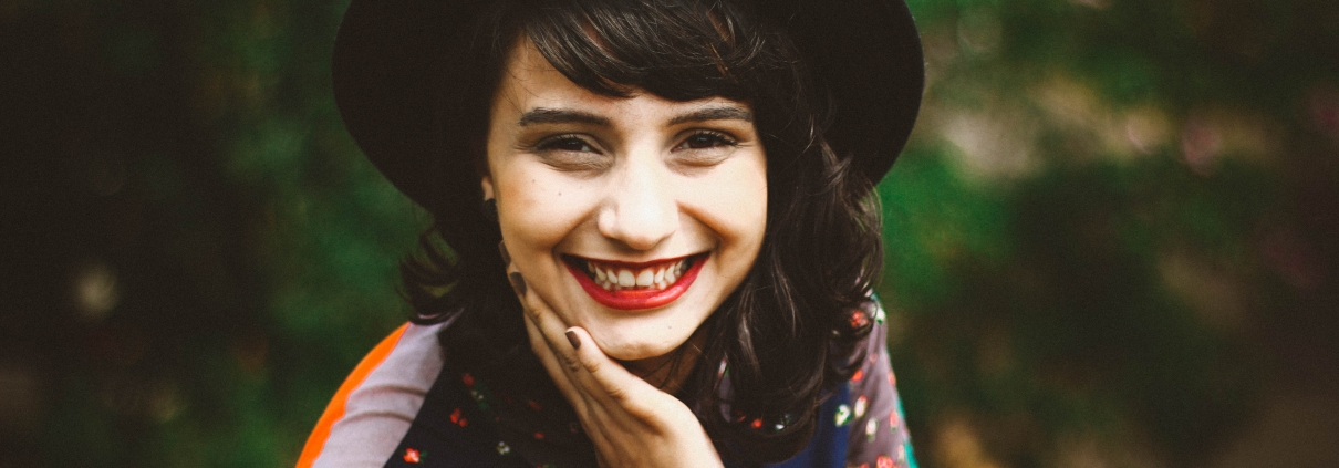 Happy woman with great mental health
