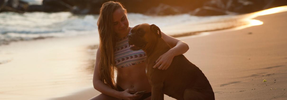 Woman with her dog talking about self-acceptance