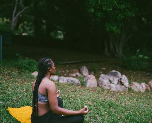 Woman meditating in nature