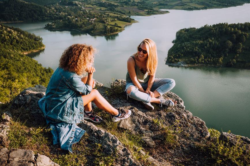 Two women enjoying nature in Milwaukee, WI
